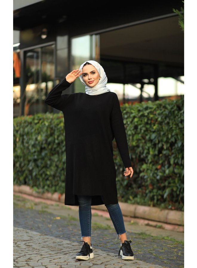 Midi oversized sweater - black