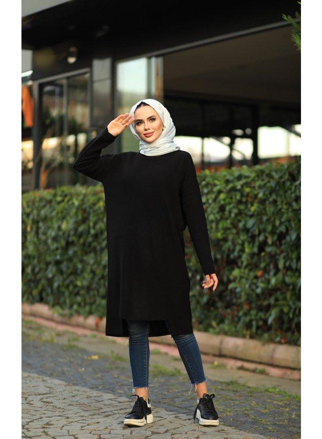Midi oversized trui - zwart