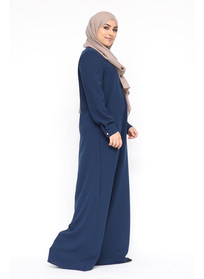 Basic abaya with zip -navy