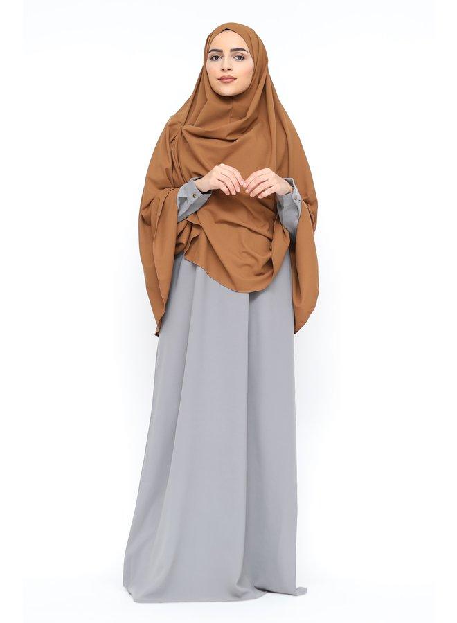 Basic abaya with zip -gray