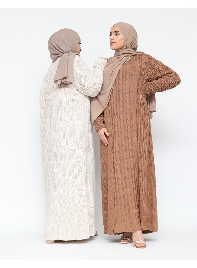 Cabledress with cardigan - camel