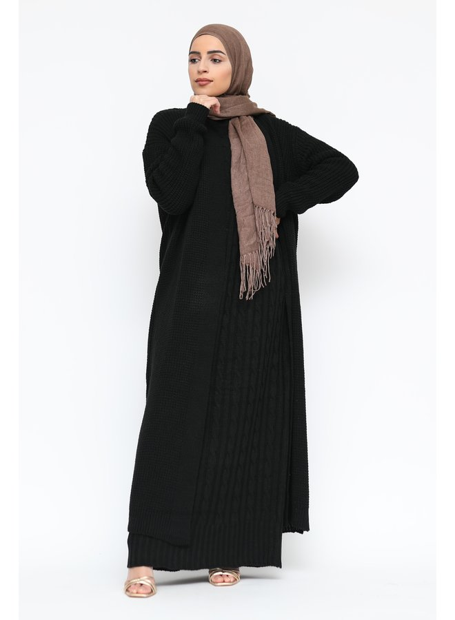 Cabledress with cardigan - black