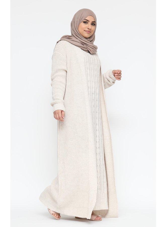 Robe torsadée avec cardigan - creme