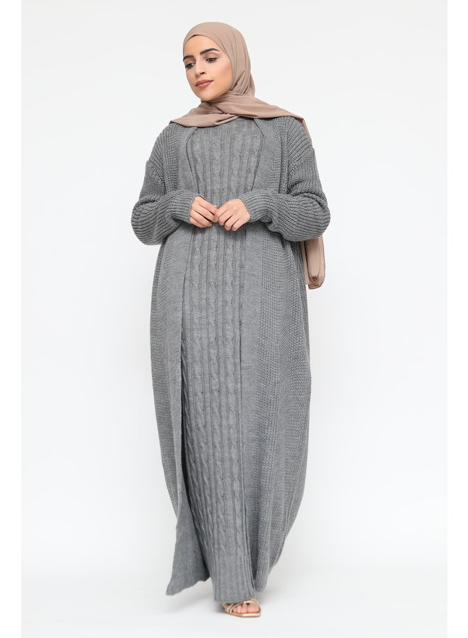 Cabledress with cardigan - gray