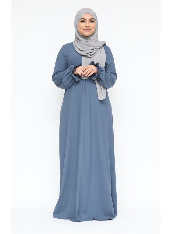 Abaya with puffed sleeve - jeansblue