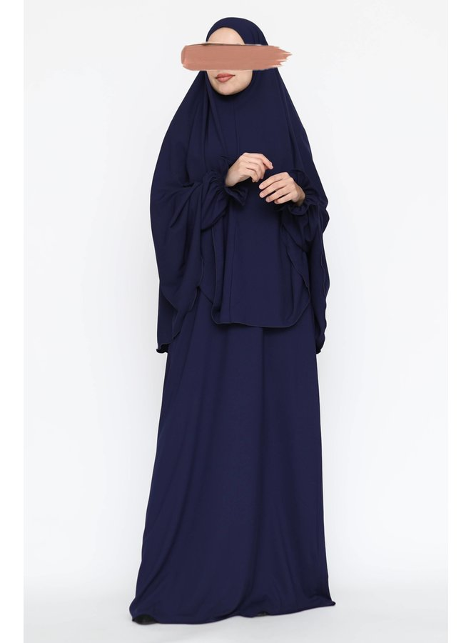 Abaya with puffed sleeve - darkblue
