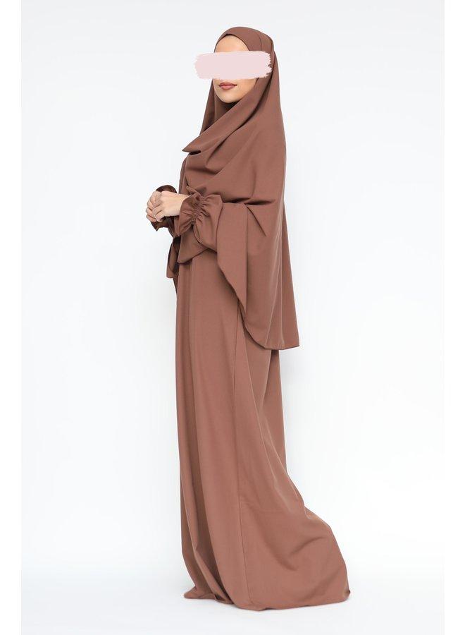 Abaya avec manches bouffantes -mokka