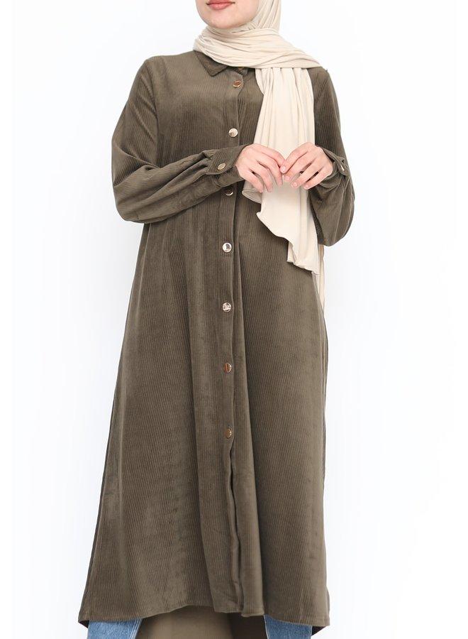 Velvet blouse met knoopjes - kaki