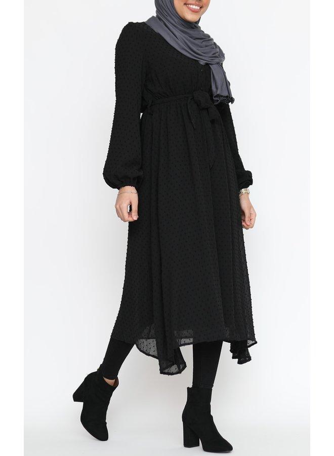 Pompom jurk - black