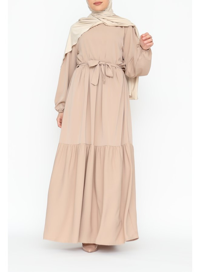 Maxidress with layers - beige