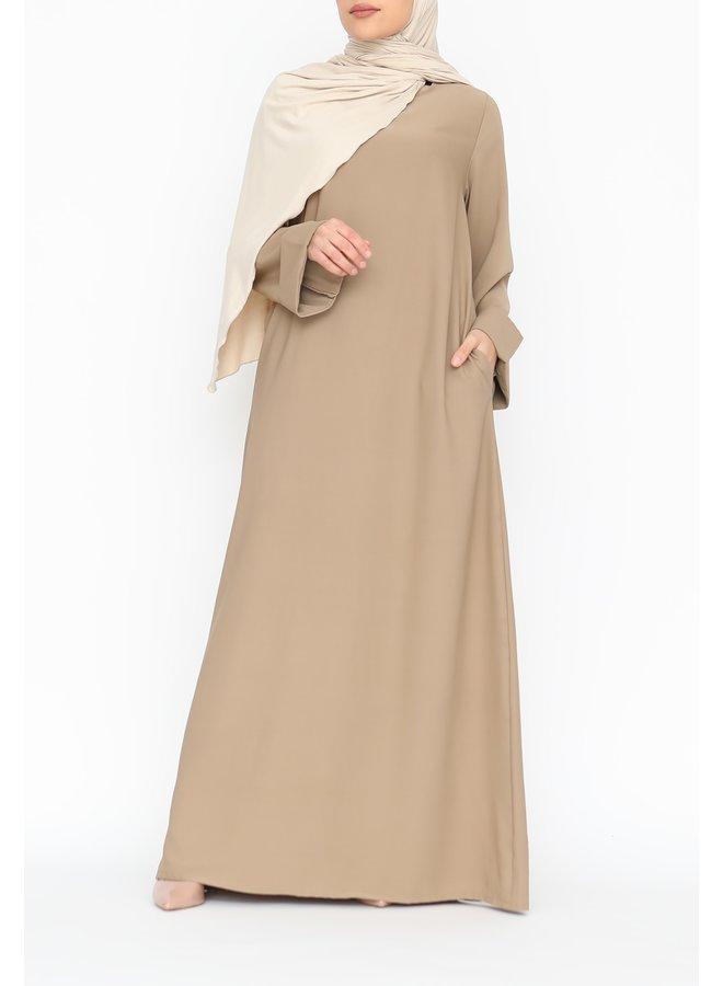 Abaya met omgeslagen mouw - camel