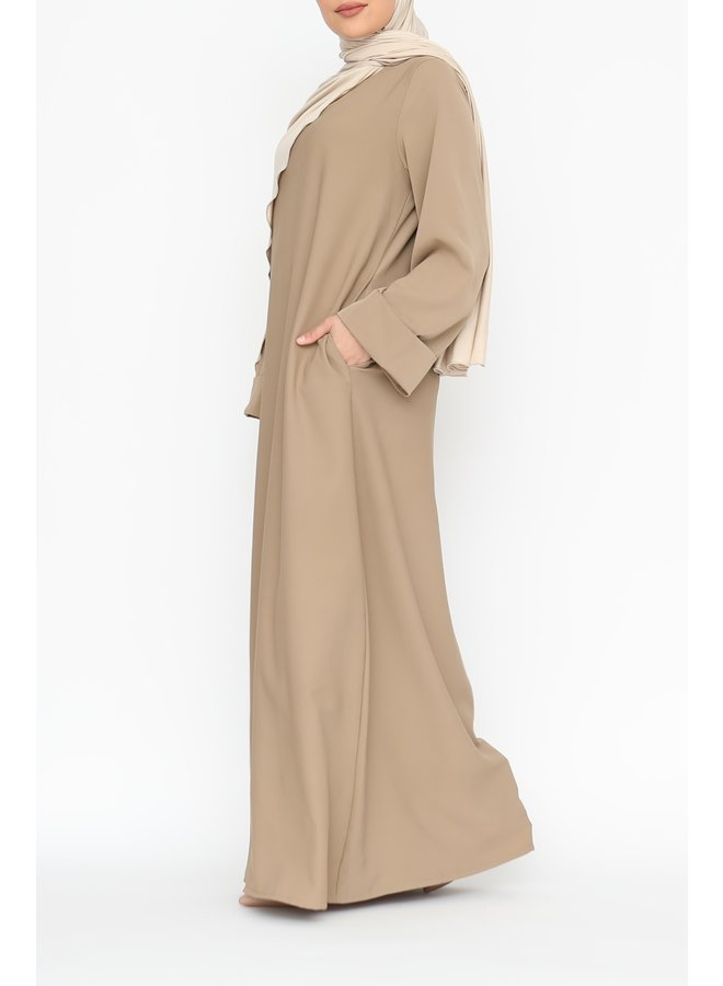 Abaya with folded sleeve - camel