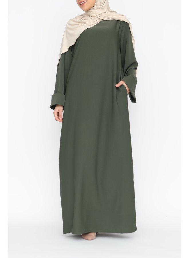 Abaya with folded sleeve - kaki
