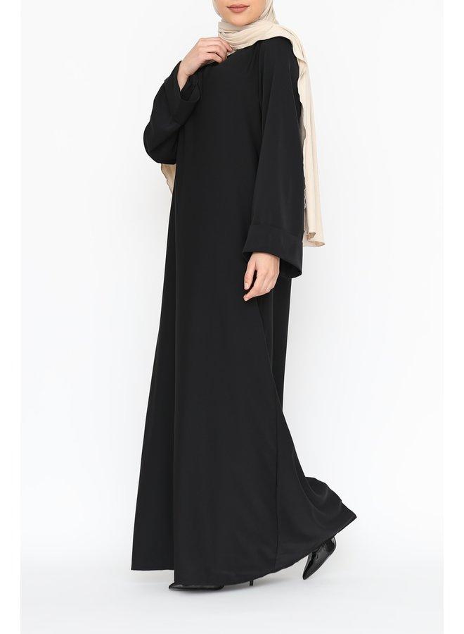 Abaya with folded sleeve - black