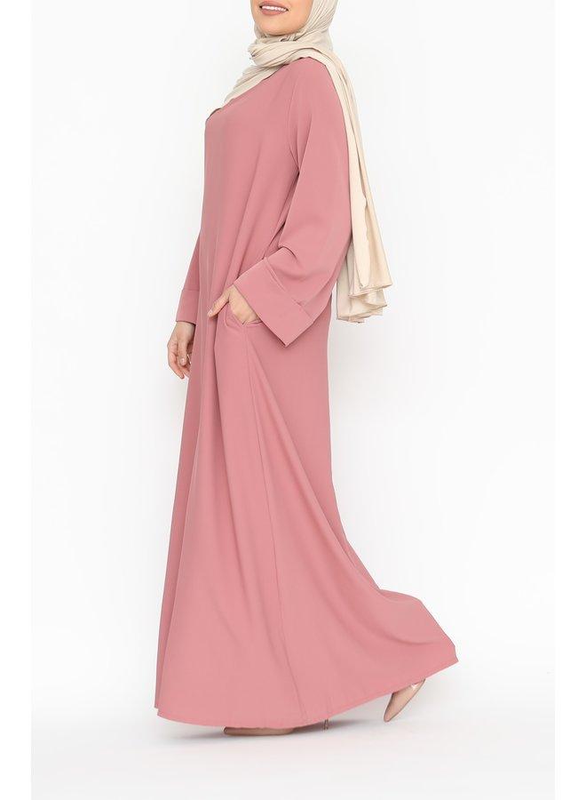 Abaya with folded sleeve - oldpink