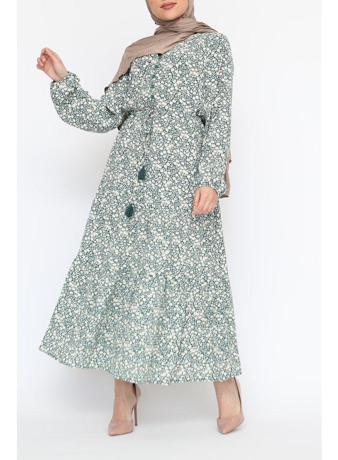 Dress with flowerprint - green