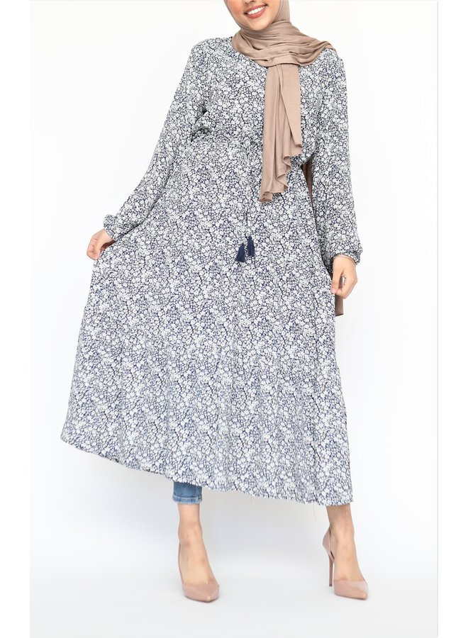 Dress with flowerprint - blue