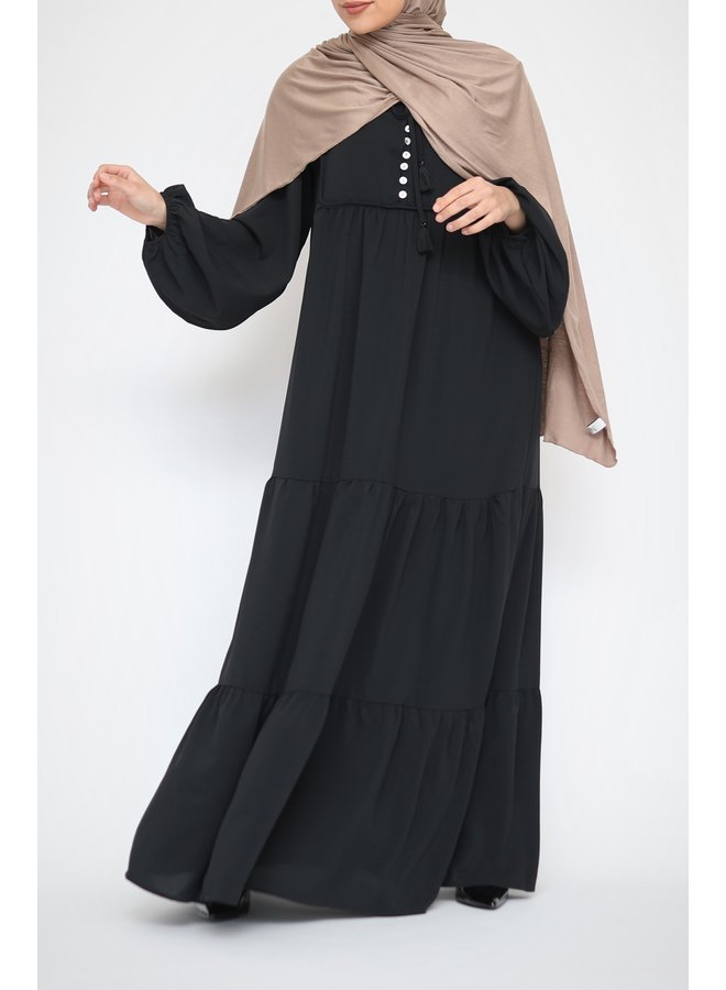 Maxidress with buttons - black