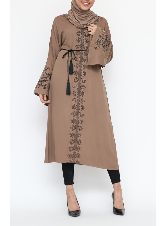 Tunic with embroidery - brown