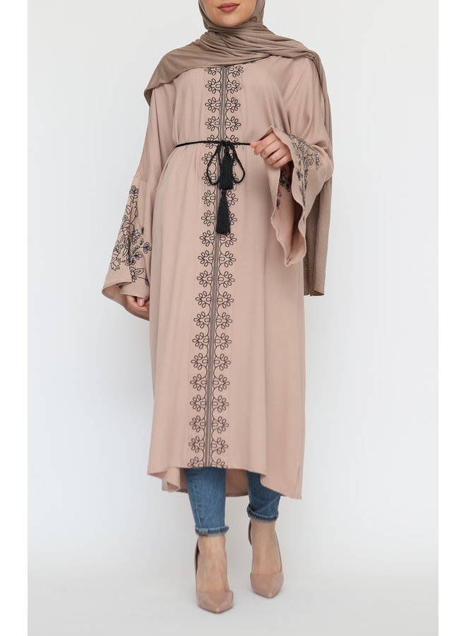 Tunic with embroidery - nude