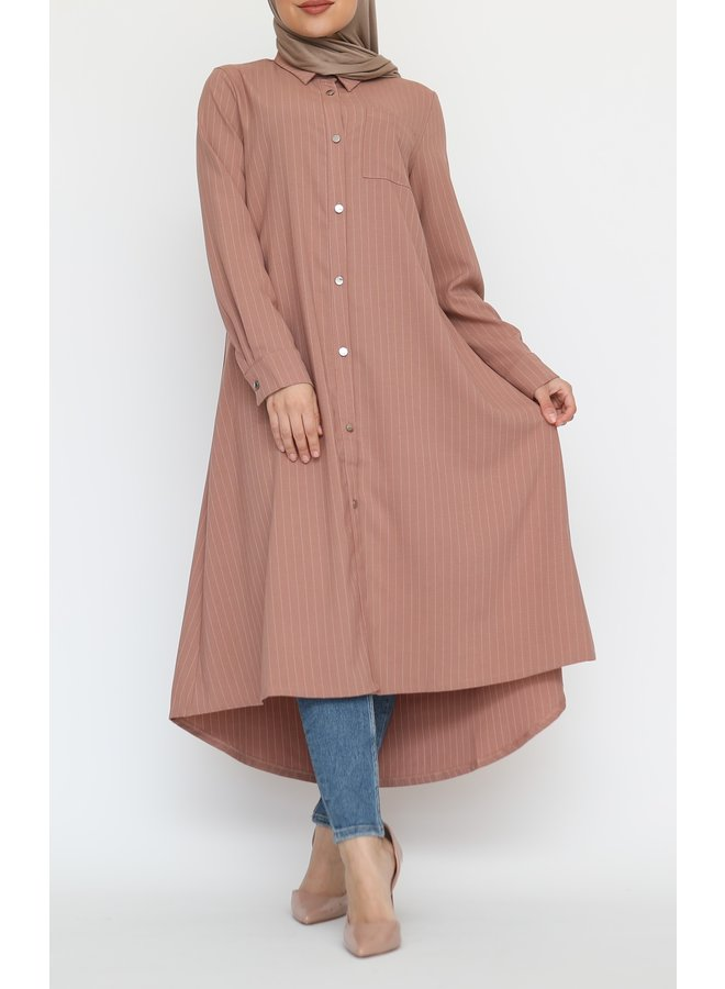Striped blouse with buttons - terracotta