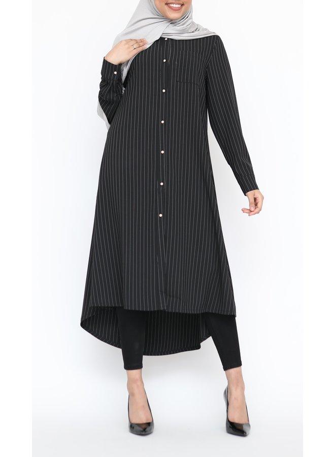 Gestreepte blouse met knoopjes  - zwart