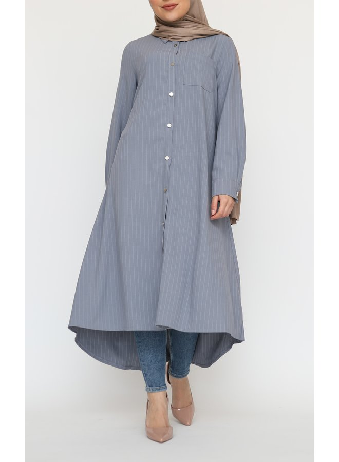 Gestreepte blouse met knoopjes  - grijsblauw