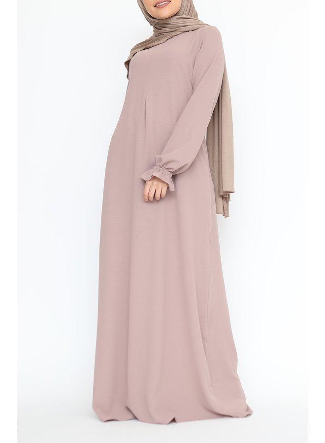 Abaya with cute sleeves (lightweight) - Powder