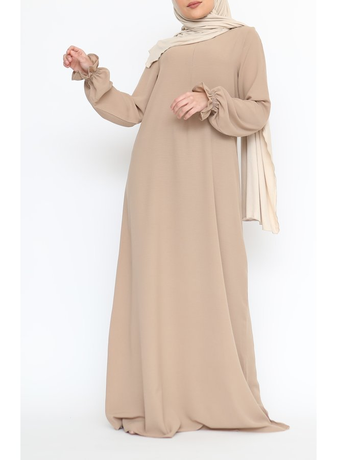 Abaya with cute sleeves (lightweight) - Beige