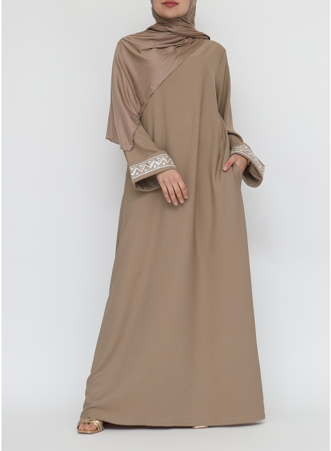 Abaya with embroidery - camel