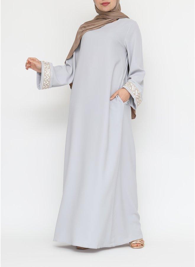 Abaya met bewerking - grijsblauw