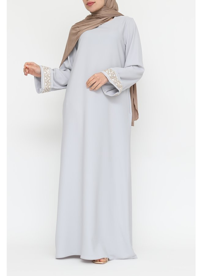Abaya with embroidery - greyblue