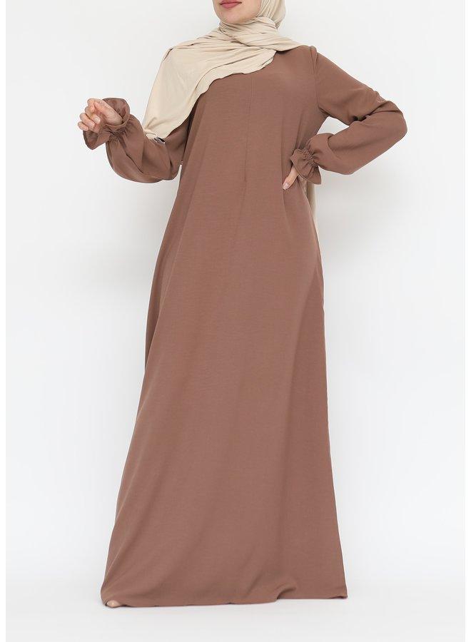 Abaya with cute sleeves (lightweight) - Coffee