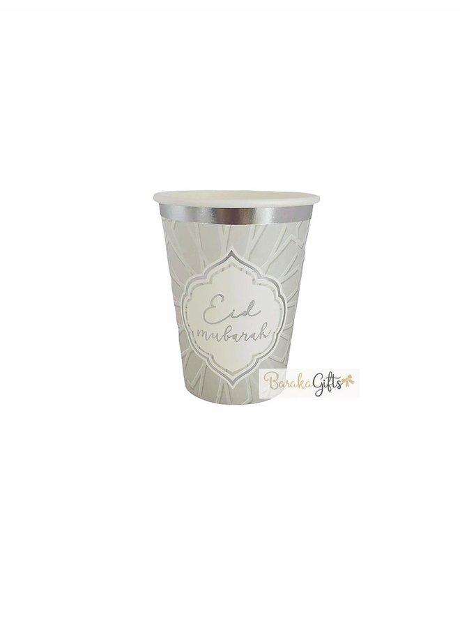 Eid mubarak cups - silver