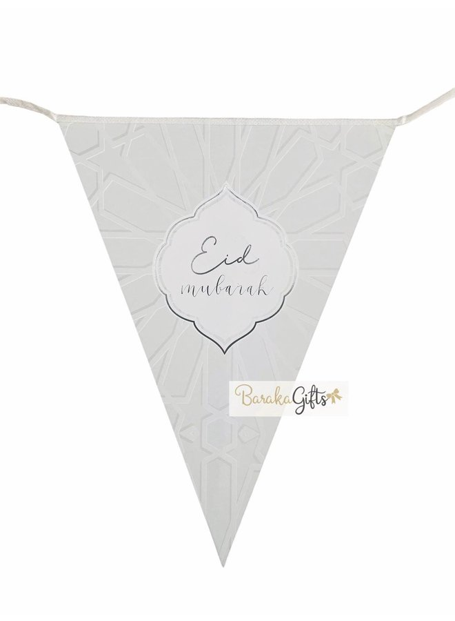 Eid mubarak flags - silver