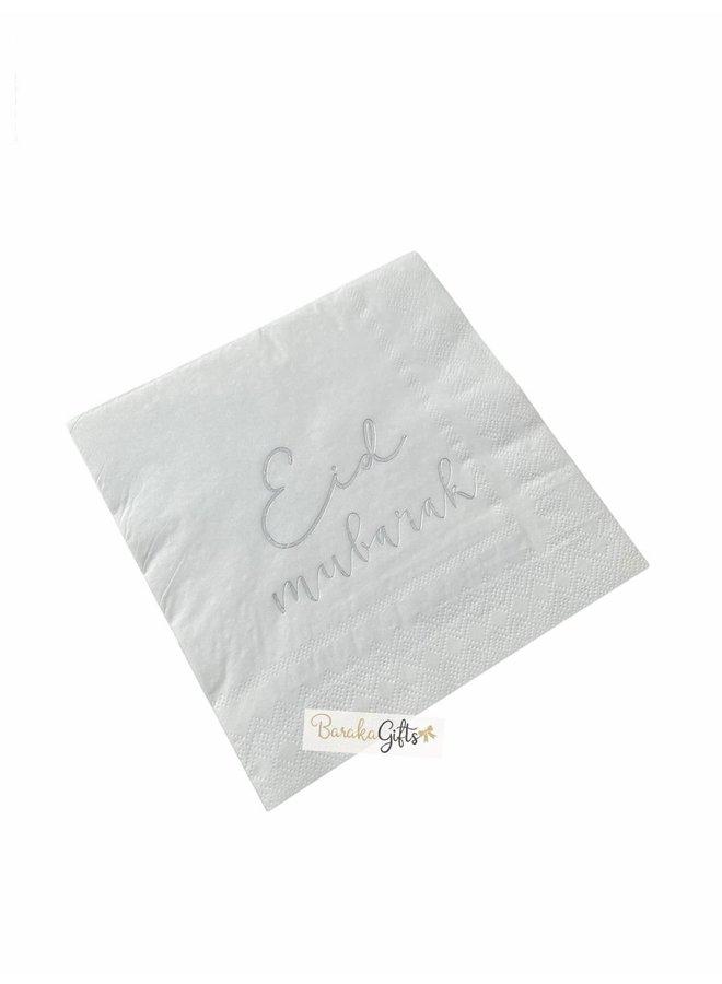 Eid mubarak servetten - zilver