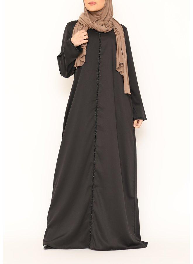 Abaya black line - black