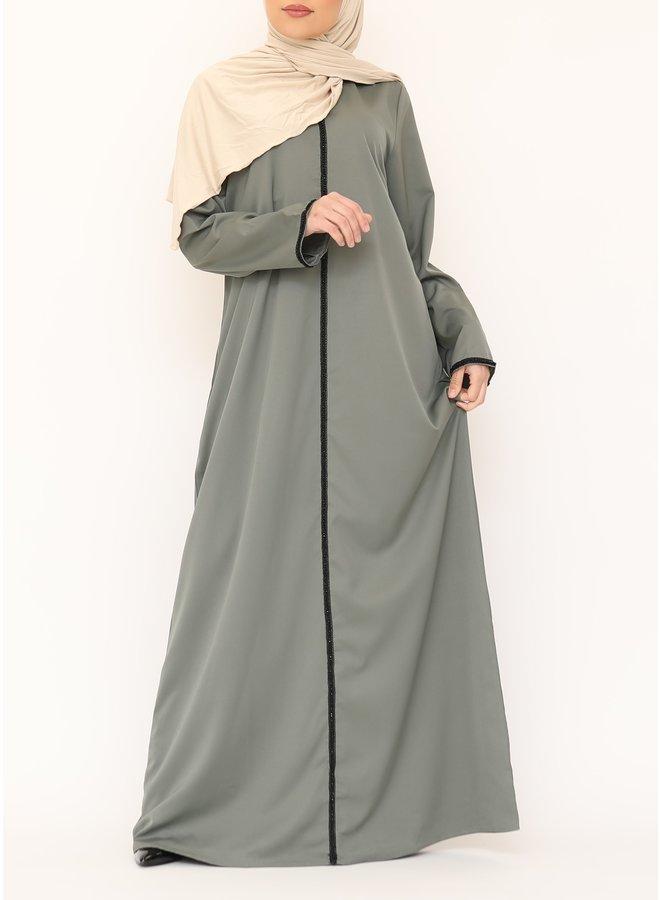 Abaya black line - kaki