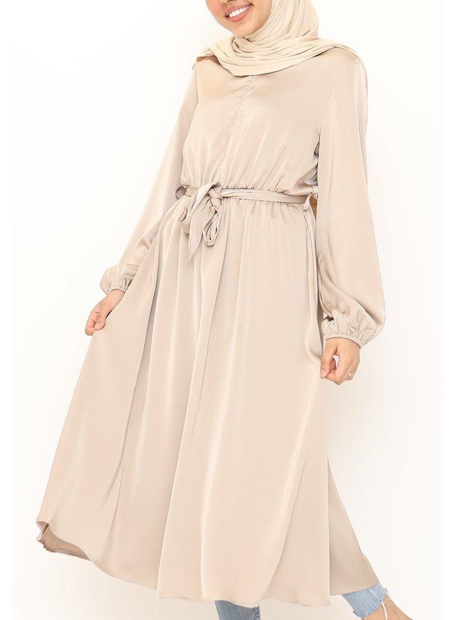 Satijnen jurk - beige