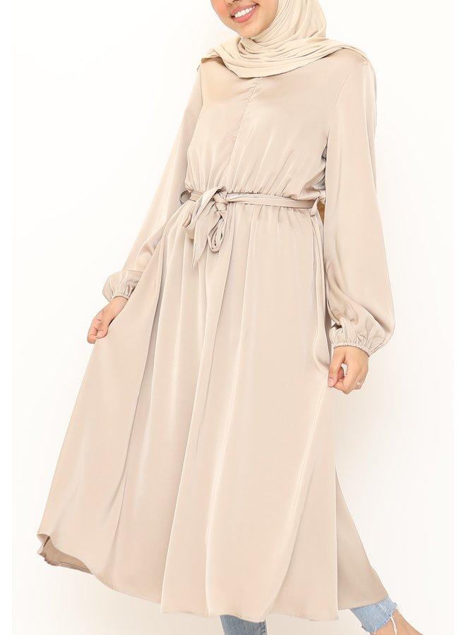 Satin dress -beige