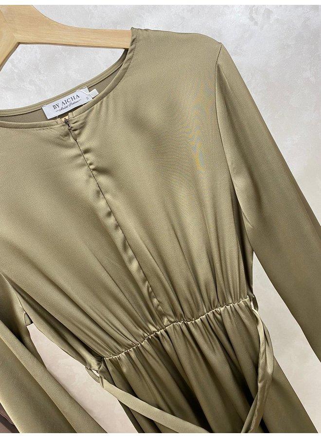 Satijnen jurk - olijf