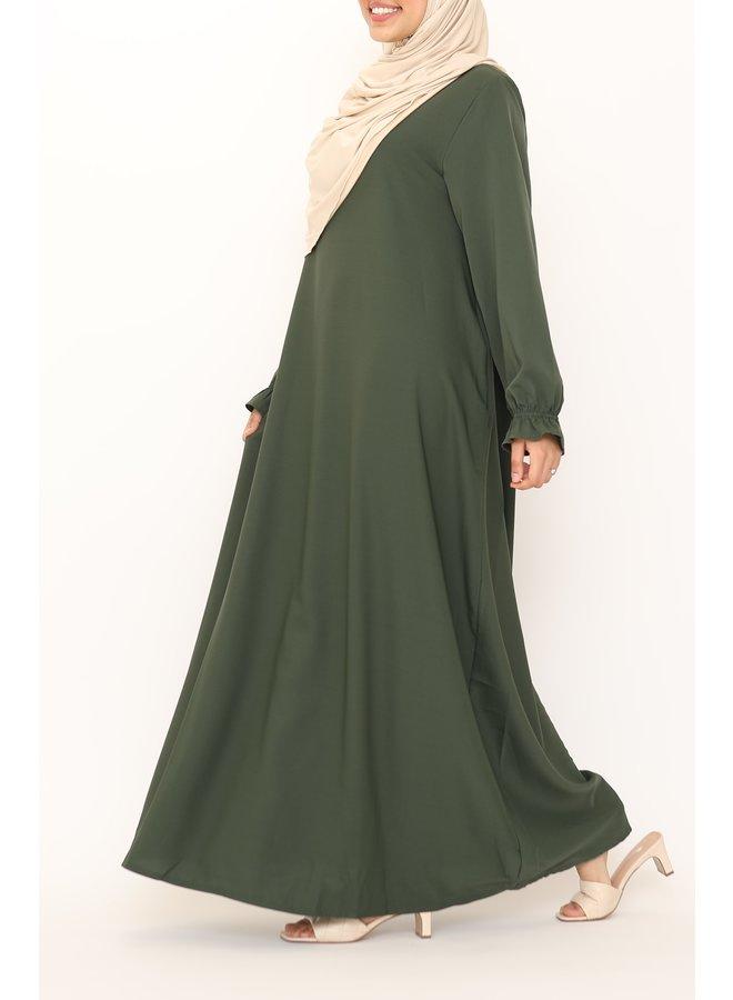Basic abaya met pofmouwtje - legergroen