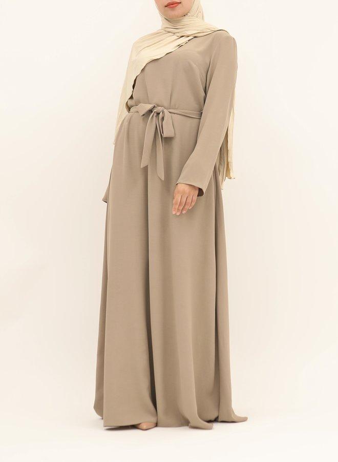 A-line abaya with belt - taupe