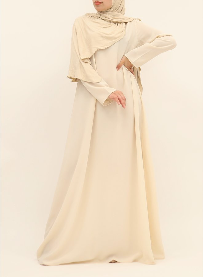 A-line abaya with belt - ecru