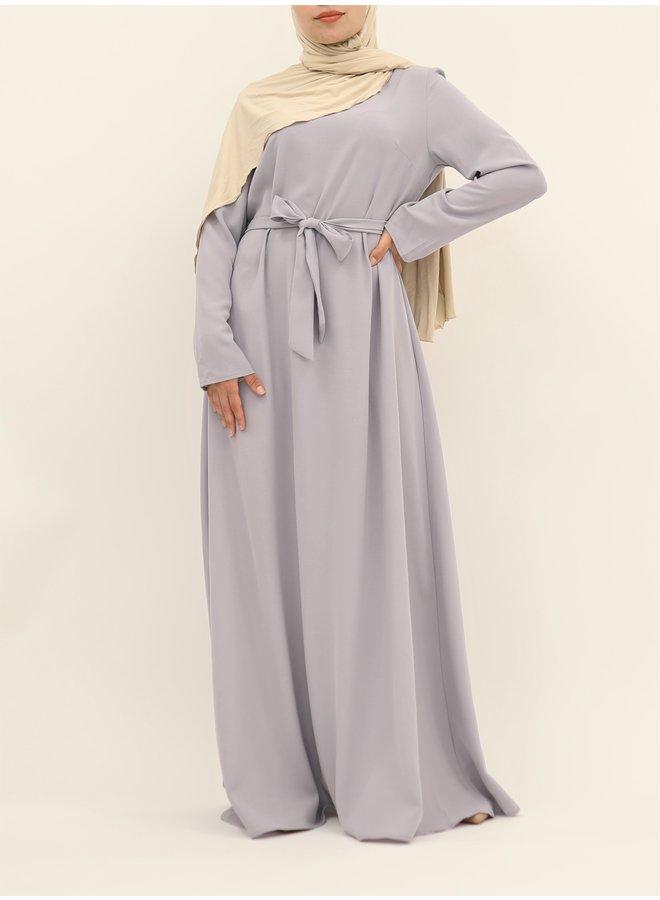 A-line abaya with belt - lila
