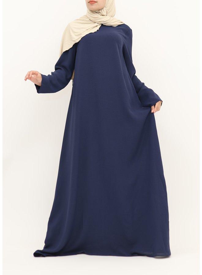 A-line abaya with belt - navy
