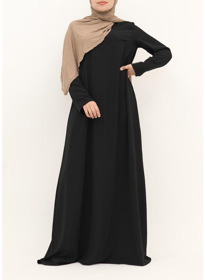 A-line abaya with belt - black