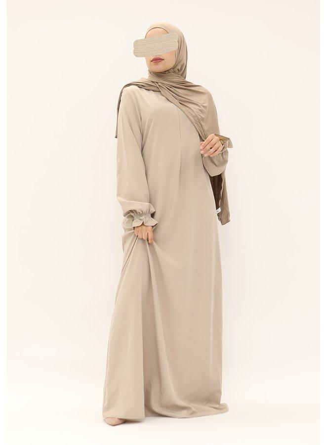 Stretch Abaya with puffed sleeve  - beige