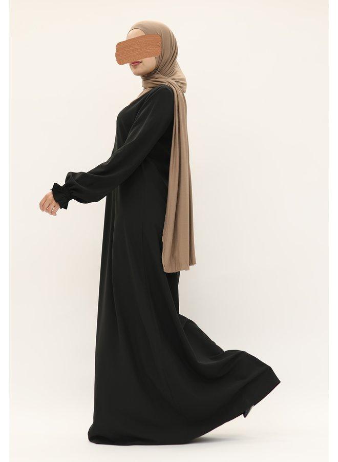 Stretch Abaya with puffed sleeve - black