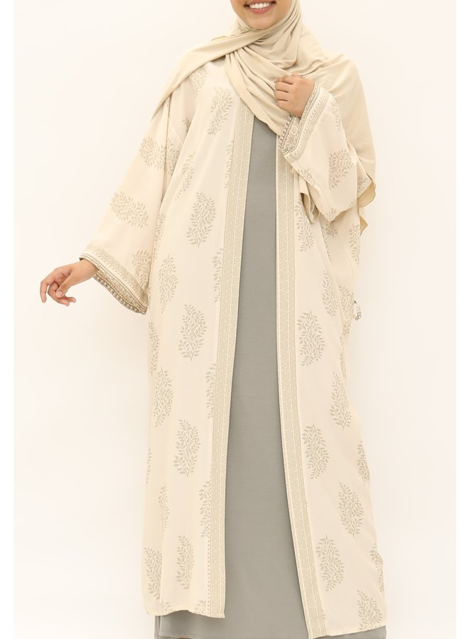 Kimono met print - beige